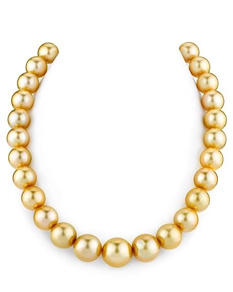 c6582fddd33a 12-Millimeter 14 de oro collar de perlas cultivadas del Mar del Sur -  calidad AAAA