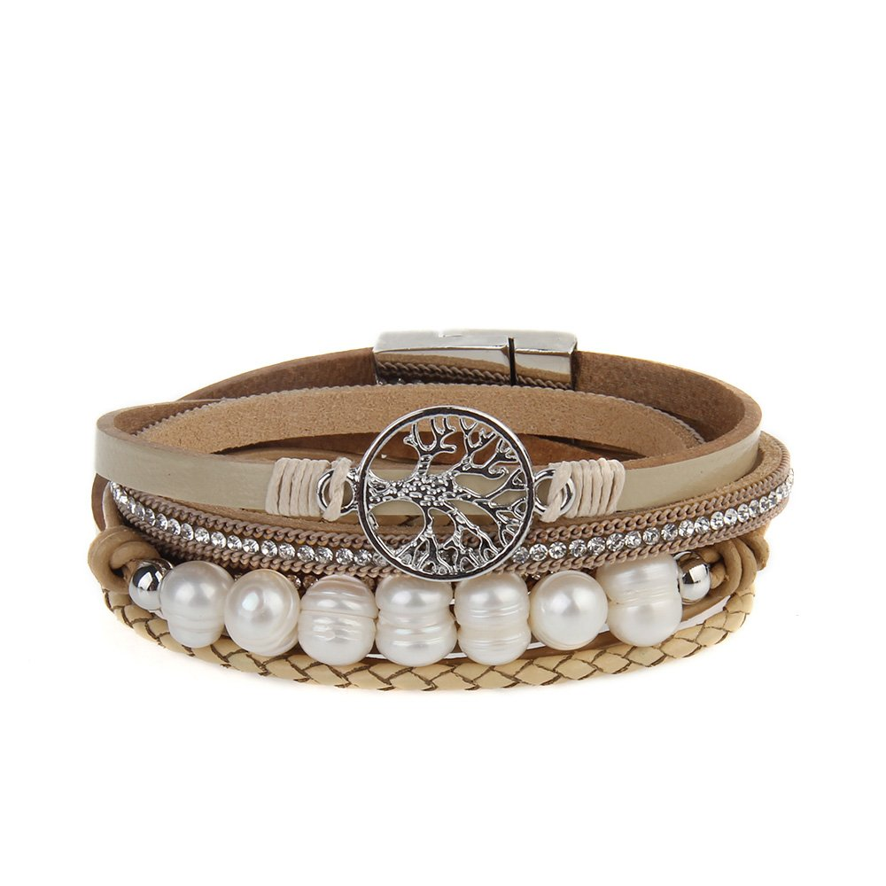 LIANCHI Tree of Life Leather Bracelet Rope Wrap Pearl Cuff Wristband for Women
