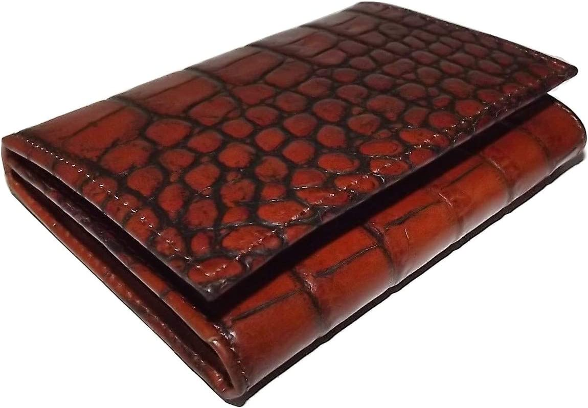 Scully Mens Croc Embossed Leather Bifold Credit Card ID Wallet Cognac