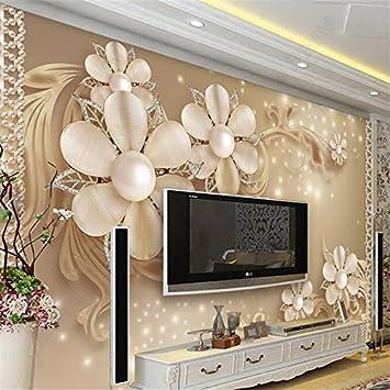 LHDLily 3D Hintergrundbild Tapete Fresken Wandaufkleber Verdickung Eigenes Foto Einfach Luxus Muster Schmuck Blume Tv