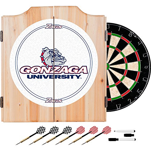 Gonzaga University Deluxe Solid Wood Cabinet Complete Dart Set - Officially Licensed! by TMG