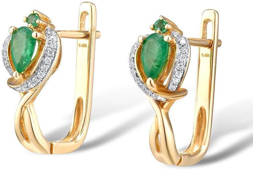 DEYUOIJ Aretes de Oro para Mujer 14K 585 Oro Amarillo Esmeralda Brillante Diamante de Lujo Aniversario de Bodas Elegante Joyería Fina