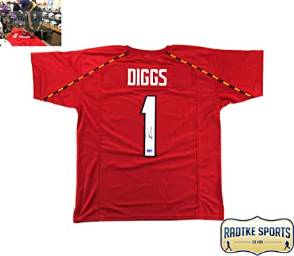 huge discount cfabb 4e895 Stefon Diggs Autographed/Signed Maryland Custom Red Jersey ...