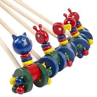 NUOBESTY Spingere in Legno Lungo Giocattolo Animale del Fumetto Spingere e Tirare Giocattoli educativi Bambino Giocattolo (Colori Modelli Misti)