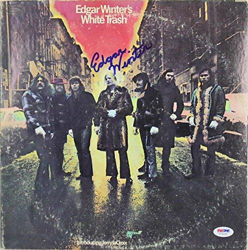 Edgar Winter Signed White Trash Album Cover W/Vinyl #T76265 - PSA/DNA Certified
