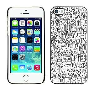 Cubierta de la caja de protección la piel dura para el Apple iPhone 5 / 5S - sketch drawing city pen white