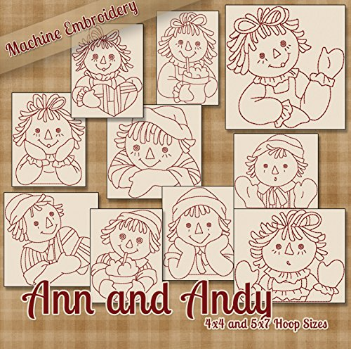 Raggedy Ann and Andy Redwork Embroidery Machine Designs on CD - Multiformat ()