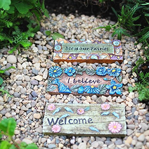 Miniature Fairy Garden FAIRY DOOR MATS, SET OF 3 ASSORTED (NIP) - My Mini Garden Dollhouse Accessories for Outdoor or House Decor (Dollhouse Mat Door)