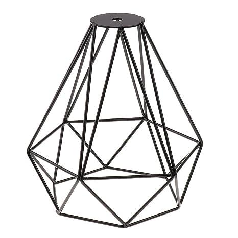Jaula Lámpara de Techo Luz Bulbo Colgante de Loft Diamante de Imitación Metal Vendimia Decoración Hogar - Negro