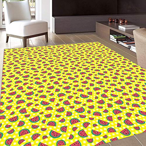 Rug,Floor Mat Rug,Watermelon,Area Rug,Childish Sweet Fresh Summer Fruit with Hand Drawn Style Slices,Home mat,6'x7'Yellow Jade Green Dark Coral,Rubber Non Slip,Indoor/Front Door/Kitchen and Living Roo (Green Jade Horn)