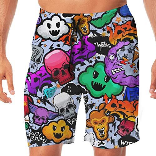 4d0f82e96e Ianbay Mens Beach Shorts Swim Trunks Graffiti Cartoon Bizarre Funky  Characters Male Swimsuit with Pockets White