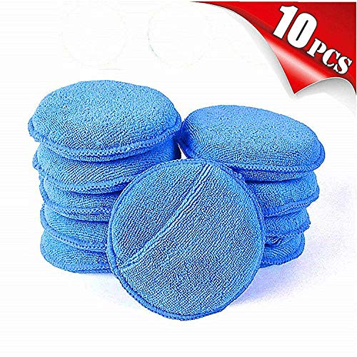 AIVS Car Care Microfiber Wax Applicator Pads with Finger Pocket for Any Cars, Truck, Boat, Motorcycle and RV. Wax Applicator Foam Sponge (Blue, 5″ Diameter, Pack of 10)