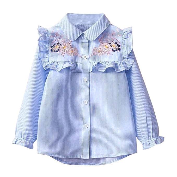 Logobeing Moda Niños Niñas Bebé Rayas Bordado Floral Blusa de Camisa, Tamaño Es 3/