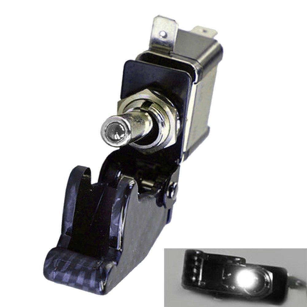 Mintice/™ Auto Motore 12V 20A Fibra di carbonio Coprire Luce LED Porpora Interruttore a levetta