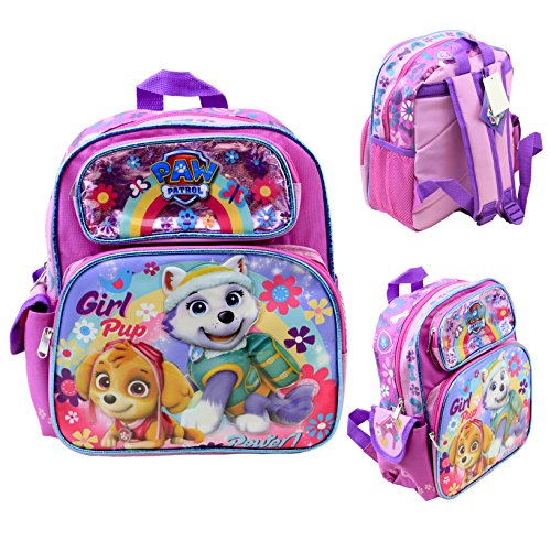 Nickelodeon Paw Patrol Girls 12' Toddler School Backpack Canvas Book Bag New