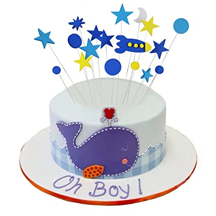 Kids Birthday Cake Toppers Decorations Space Ship with Stars