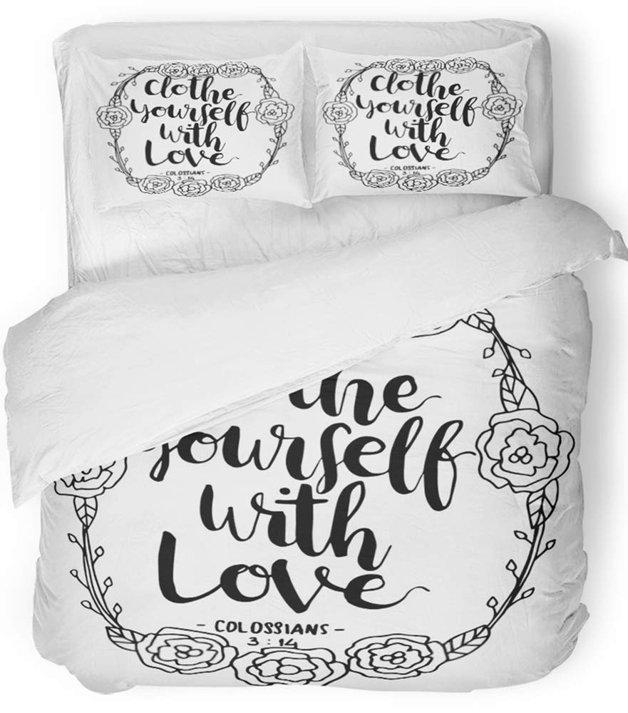 Emvency 3 Piece Duvet Cover Set Breathable Brushed Microfiber Fabric Christian Clothe Yourself with Love on White Believe Bible Border Brushing Bedding Set with 2 Pillow Covers Full/Queen Size