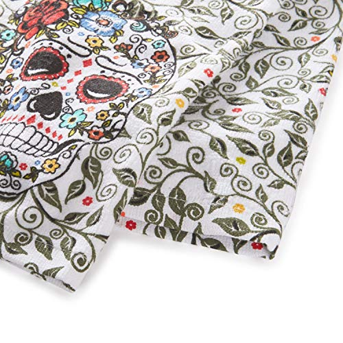 "Fiesta Skull & Vine Kitchen Towel Set, 16""x28"", Multi 2 Count"