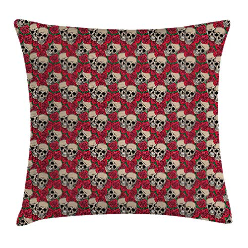 K0k2t0 Rose Throw Pillow Cushion Cover, Graphic Skulls and Red Rose Blossoms Halloween Inspired Retro Gothic Pattern, Decorative Square Accent Pillow Case, 18 X 18 inches, Vermilion Tan Green
