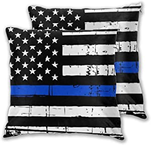 Granbey 2 PCS Blue Lives Matter American Flag Pillow Covers Police Style Pillows Set USA Polices Flag Cotton Pillows Sets Stars Flag Throw Pillowcase with Zipper Home Decor for Bedroom Couch 18x18