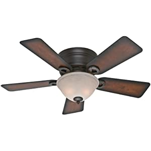 Hunter Indoor Low Profile Ceiling Fan with light and pull chain control - Conroy 42 inch, Onyx Bengal, 51023