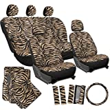 zebra striped car accessories - OxGord 21pc Zebra Car Seat Cover, Carpet Floor Mat, Steering Wheel Cover and Shoulder Pad Set - Universal Fit, Truck, SUV, or Van - Brown, Beige, Tan