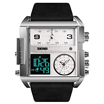a140c2804c SKMEI Men's Digital Sports Watch, LED Square Large Face Analog Quartz Wrist  Watch with Multi-Time Zone Waterproof Stopwatch