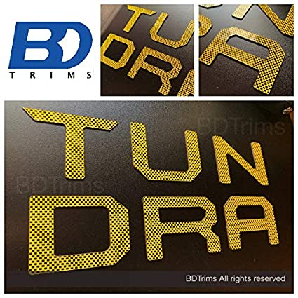 BDTrims Tailgate Raised Letters Compatible with 2014-2020 Tundra Models Yellow Carbon