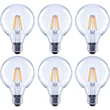 Asencia AN-03681 40 Watt Equivalent G25 Globe Clear All Glass Vintage Filament Dimmable LED Light Bulb, Soft White, 6-Pack, 2
