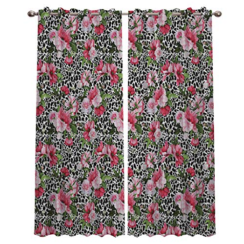 Darlicent Blackout Draperies Curtains Panels - Thermal Insulated Grommet Window Curtain Treatments for Living Room Bedroom Kitchen, Leopard Textured Flowers (27.5 x 39 Inch, 2 ()