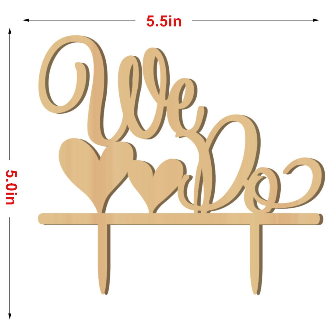 Kalevel 2pcs We Do Wedding Ring Box Cake Cupcake Toppers Rustic Wooden Ring Bearer Box Vintage Personalized Funny Wedding Cake Toppers Decorations Cake Insert Card Ring Holder for Wedding Ceremony by Kalevel (Image #5)