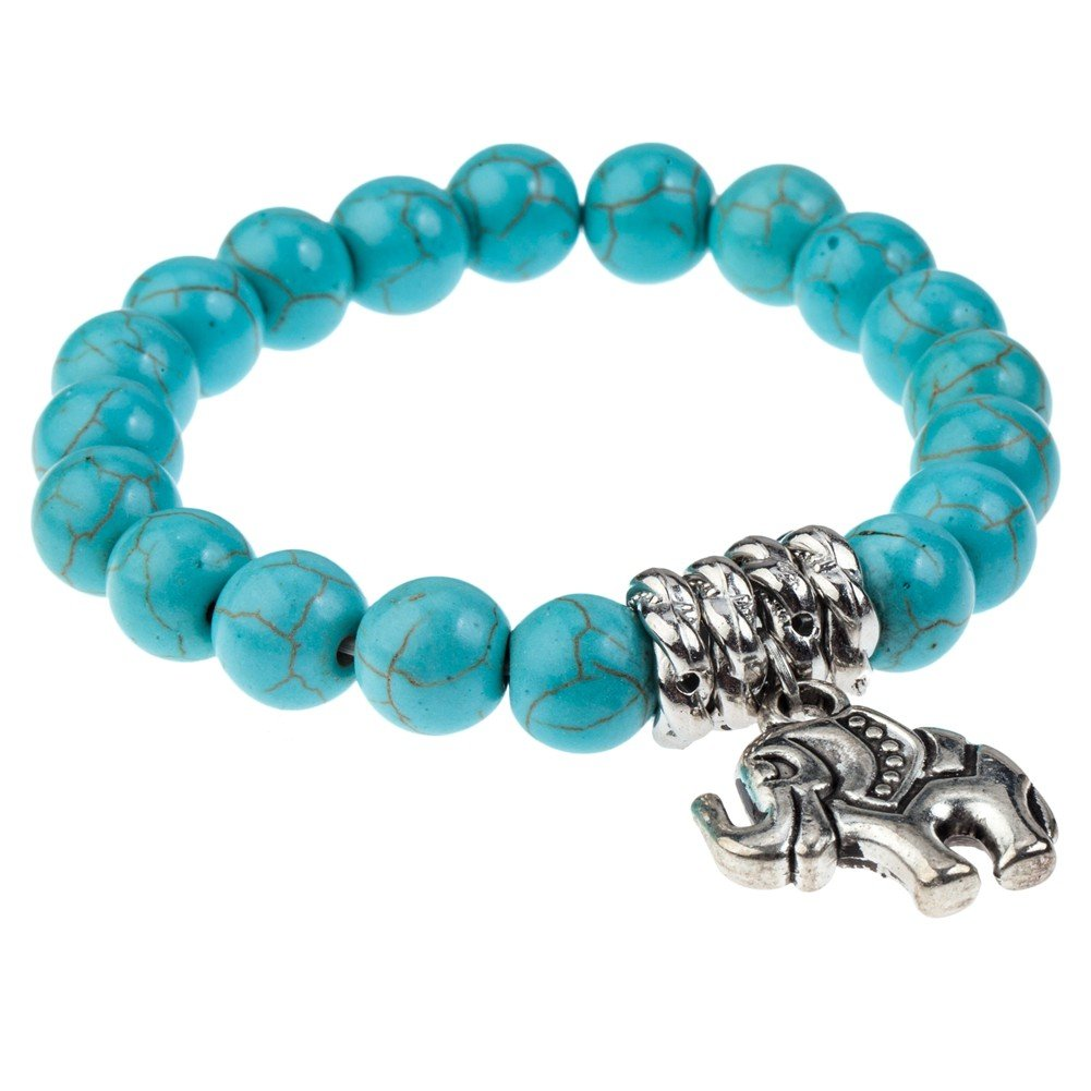 Fantastic Quality Asian Style Stretch Stretchable Adjustable Bracelet Bangle With Turquoise Round Pearls Beads Gems Stones And Anti Silver Coloured Cute Lucky Elephant Charm Pendant By VAGA© 661799000727