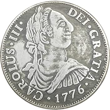 Plata Antigüedades, 1776 Carlos III de España para Hacer Las Antiguas Monedas de Plata Antigua de Doble Columna de Cobre-níquel de aleación de Plata: Amazon.es: Hogar