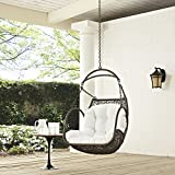 Modway EEI-2659-WHI-SET Arbor Outdoor Patio Balcony Porch Lounge Swing Chair Set with Hanging Steel Chain White