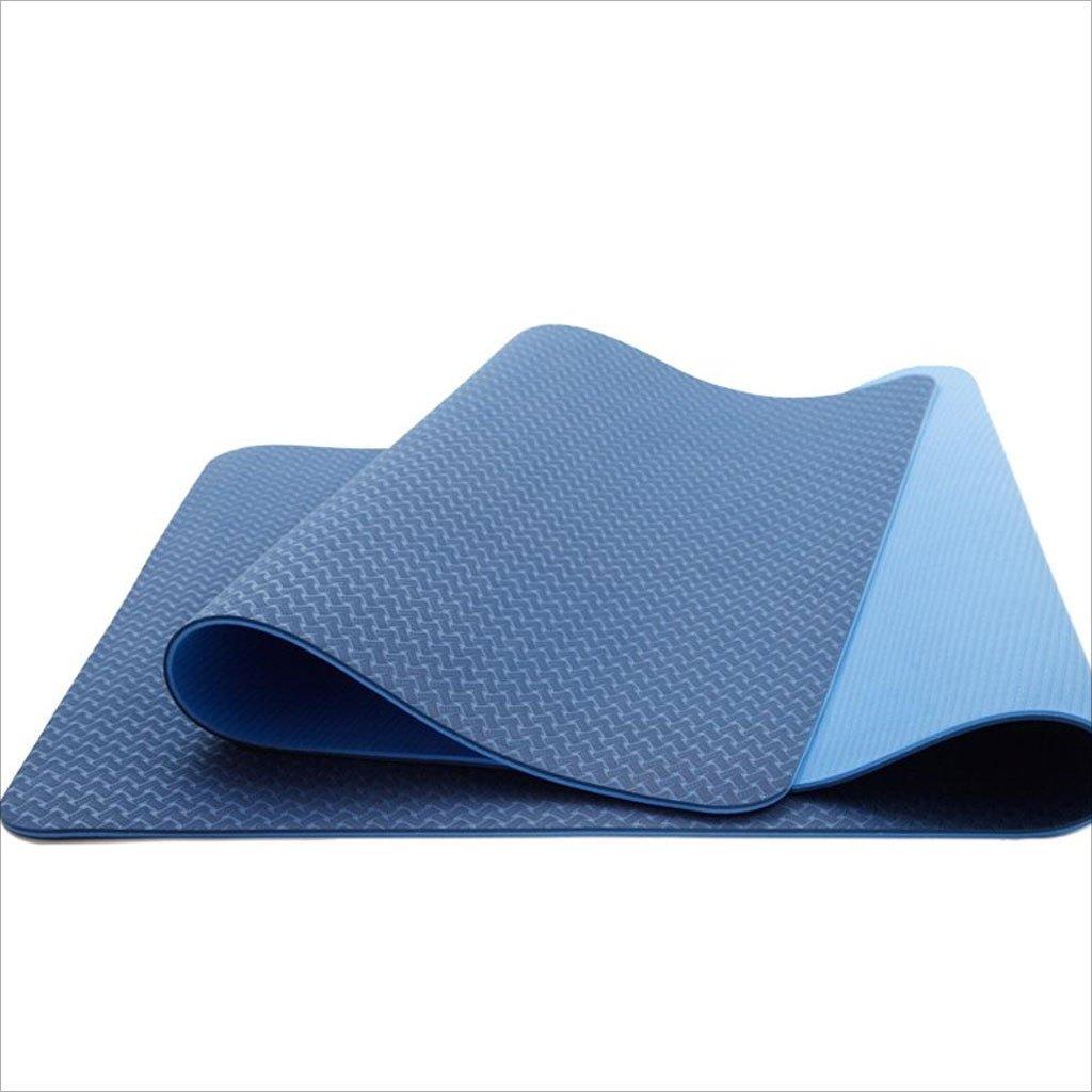 GLJ Yogamatte Männer Und Frauen Modelle Lang Erweitert Umweltschutz Yogamatte Doppelseitige Matte Sport Fitness Matte Yoga Matte (Farbe : Blau)