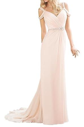 Orient Bride Column V-neck Backless Chiffon Evening Prom Dresses Size 18 UK Pink