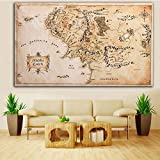 Bazaar 110x60CM Map of Middle Earth Lord of The Rings Silk Cloth Poster Home Decor