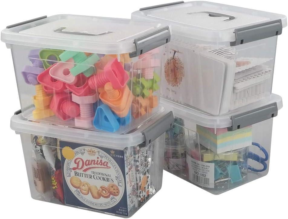 Jekiyo Clear Plastic Storage Bin, 6 Quart Latching Box Container with Lid, 4 Packs