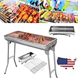 Beenaspiring Foldable Barbecue Charcoal Grill Stove Stainless Steel BBQ Patio Outdoor Camping Table Top BBQ Grill Garden Parties Picnics