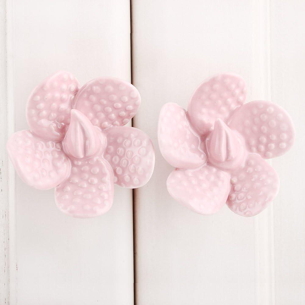 IndianShelf Handcrafted 8 Pieces Dot Flower Shape Ceramic Pink Vintage Door Knobs for Dresser Drawers for Kids Furniture Cabinet Pulls
