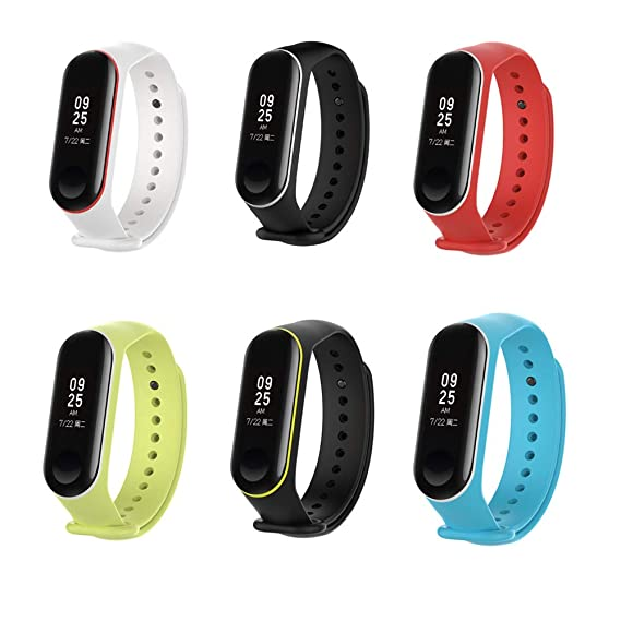 XIHAMA Xiaomi Mi Band 3 Replacement Band, Silicon Sport Colorful Replacement Strap Wristband Accessories for Xiaomi Mi Band 3 Smart Bracelet (6pcs ...