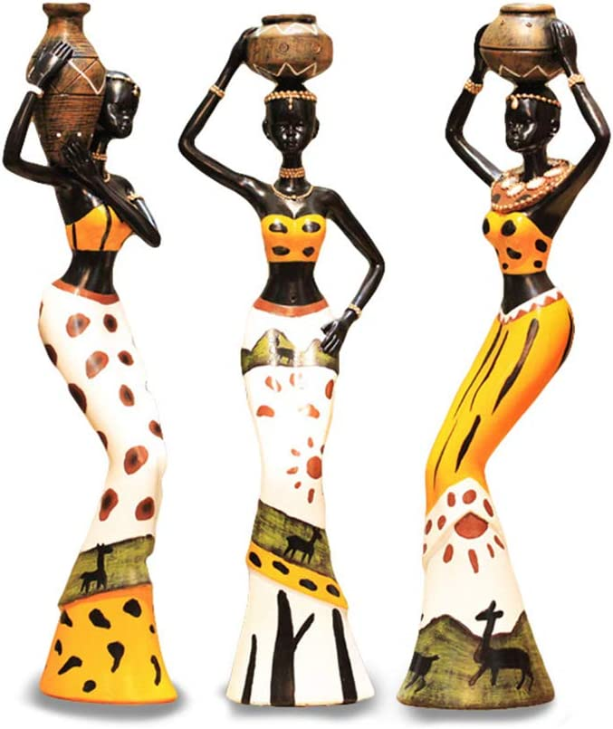 Mary Paxton 3 Pack African Sculpture,Women Figure Girls Tribal Lady Figurine Statue Decor Collectible Art Piece Human Decorative Home Black Figurines Creative Vintage Gift Crafts Dolls Ornaments