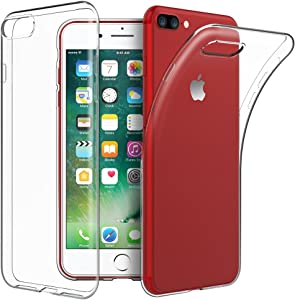 EasyAcc Slim Case for iPhone 8 Plus/iPhone 7 Plus, Ultra Thin Soft TPU Phone Transparent Cases Crystal Clear Wireless Charging Back Protective Cover Compatible with iPhone 8 Plus/iPhone 7 Plus