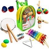 Stoie's 17 pcs Musical Instruments Set for Toddler and Preschool Kids Music Toy - Wooden Percussion Toys for Boys and Girls I