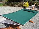 Petra Leisure 14 Ft. Teak Wooden Arc Hammock Stand + Deluxe Quilted Elegant Hunter Green Double Padded Hammock Bed w/Pillow. 2 Person Bed. 450 LB Capacity