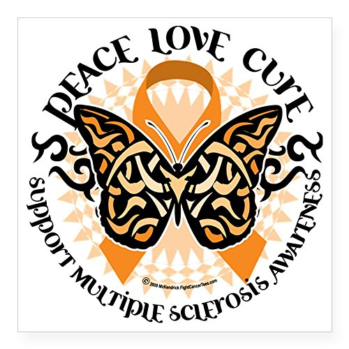 CafePress Multiple Sclerosis Butterfl Square Sticker Bumper
