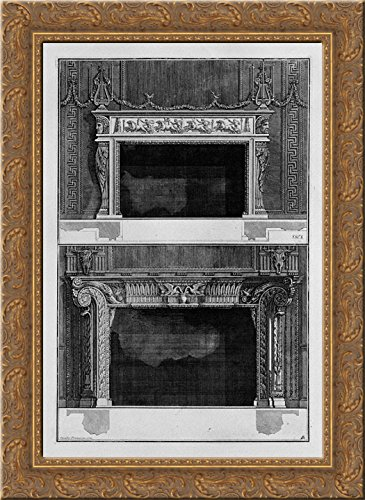 Two fireplaces superimposed with the support 4 in the chariot race in the circus, the inf with 2 swans that drink in a vase 20x24 Gold Ornate Wood Framed Canvas Art by Piranesi, Giovanni Battista