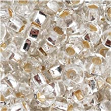 Czech Seed Beads 8/0 Silver Foil Lined Crystal (1 Ounce)