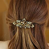 Coffee New Fashion crystal Rhinestone Flower Hair Barrette Clip Hairpin Women Jewelry