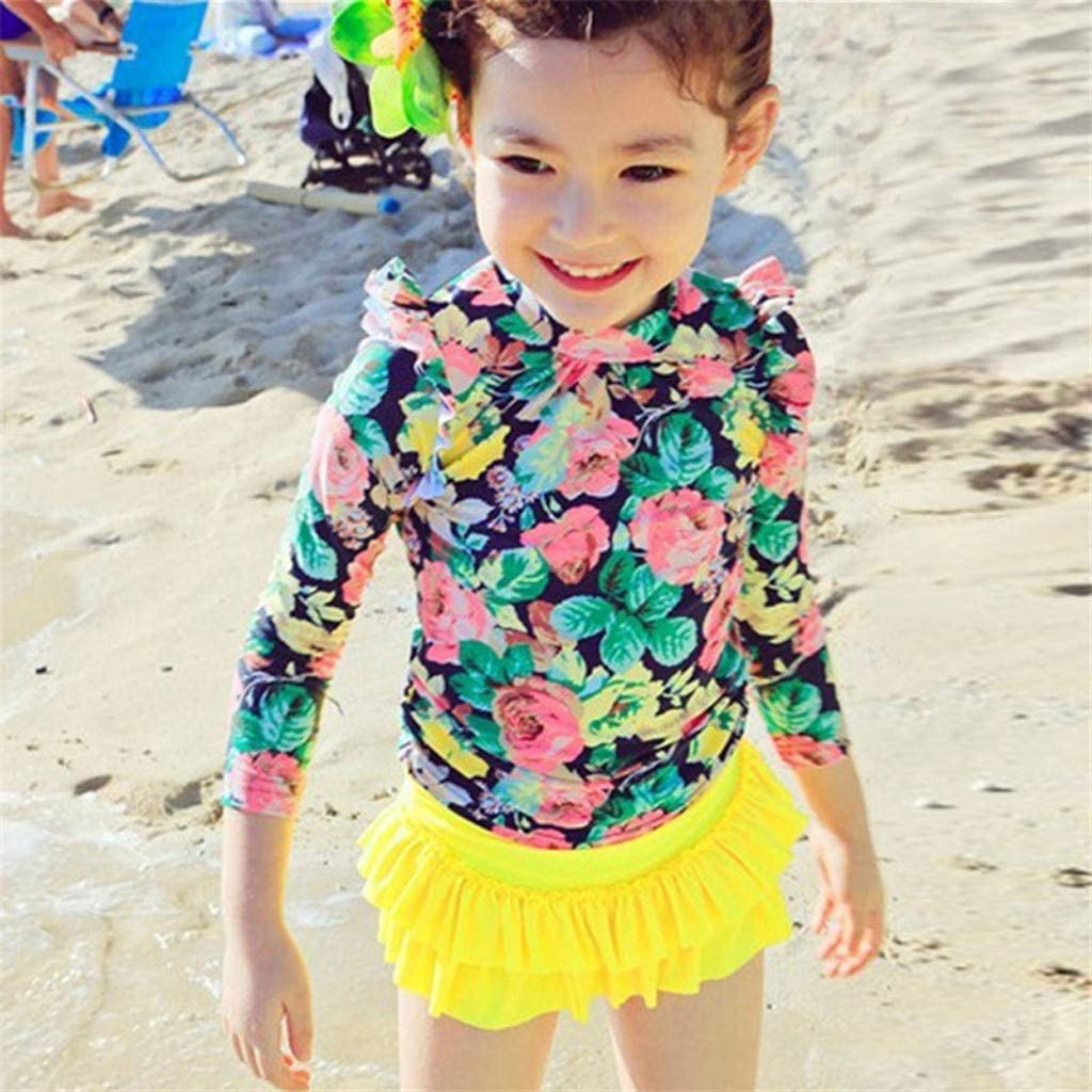 Juesi Girls Swimsuit Kids Girl Floral Long Sleeve Ruffled 2 Pieces Beach Bathing Outfits
